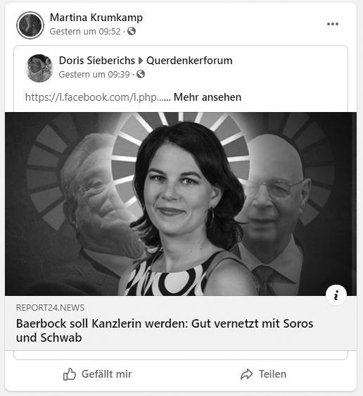 Martina Krumkampf (Die Basis): Antisemitismus mit Soros
